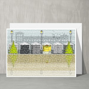 LIN Xmas card Beach huts GB