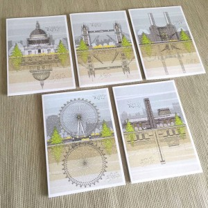 London xmas cards Set