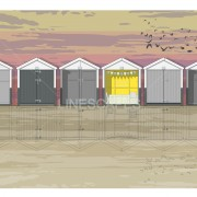 LIN Print Beach Huts Sunset A4 300 WM