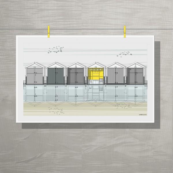 LIN Tea Towel Beach Huts GB 72