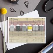LIN Card Beach Huts Sunset CLF