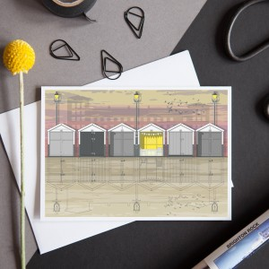 LIN Card Beach Huts Sunset CLF