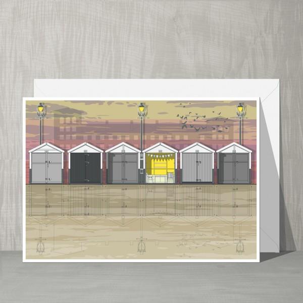 LIN Card Beach Huts Sunset G