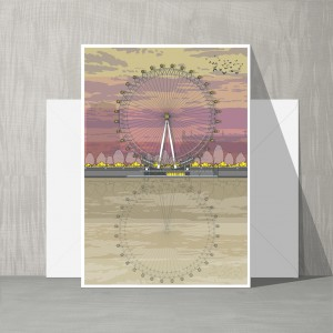 LIN Card London Eye Sunset