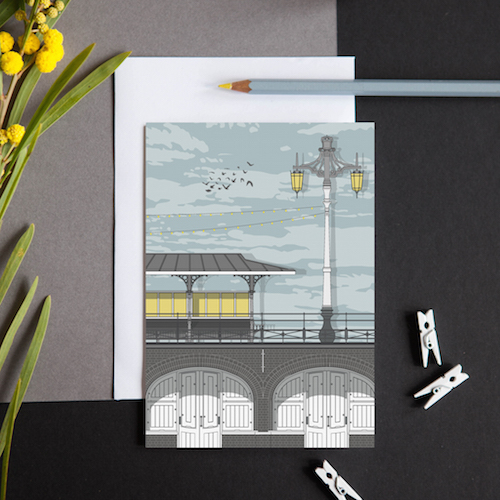 A greeting card featuring a detailed illustration of the retail arches long Brighton seafront.
