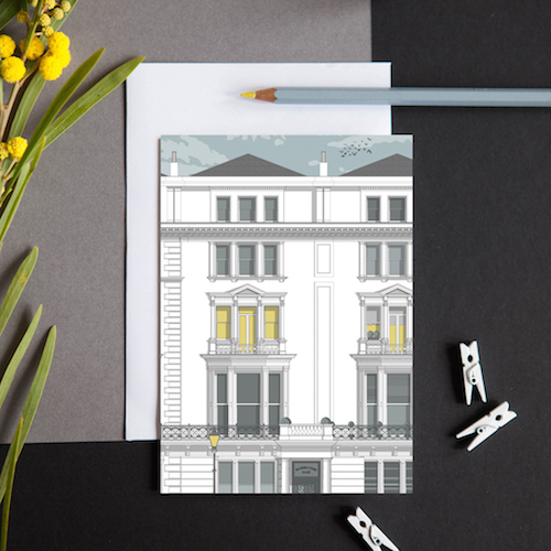 greeting card featuring a section of the elegant Regency townhouses in Palmeira Square, Hove.