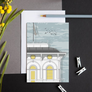 greeting card featuring a section of the Seafront kiosk now utilised as a cafe and the British Airways i360 ticket office.