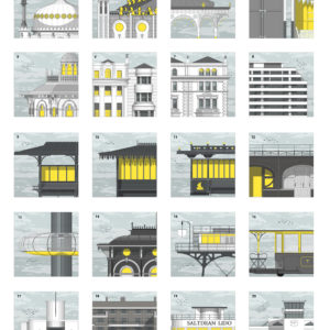A collection of 20 mini-prints featuring some of this town's best known buildings