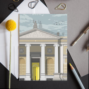 A greeting card featuring a detailed illustration of the fascinating Oxford Art and Archaeology museum.
