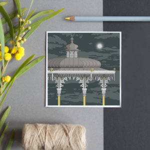 A greeting card featuring a detailed illustration of the ornate Victorian bandstand on Brighton seafront.