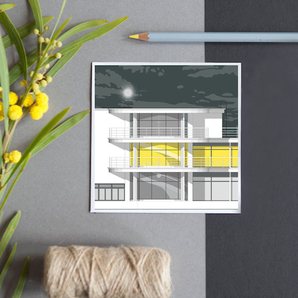A greeting card featuring a detailed illustration of the Modernist De la Warr Pavilion in Bexhill on Sea.