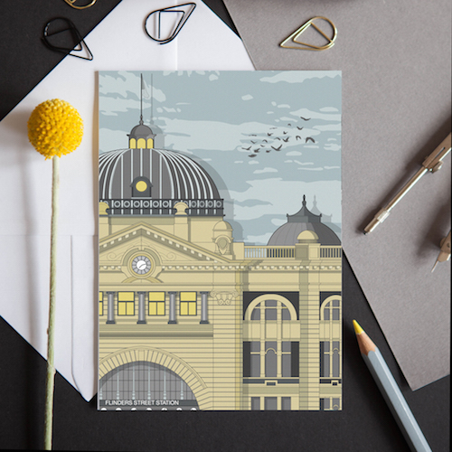 A card featuring the iconic train station in Melbourne, Australia