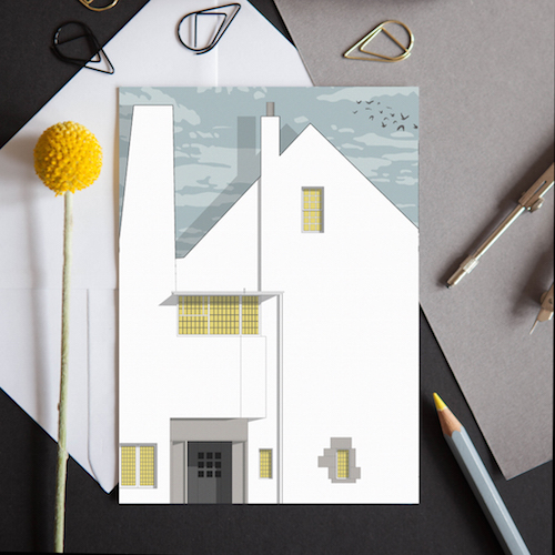 A greeting card featuring a detailed illustration of the Scottish Hill House by Charles Rennie McKintosh.
