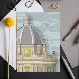 A greeting card featuring a detailed illustration of the historic Radcliffe Camera in Oxford.