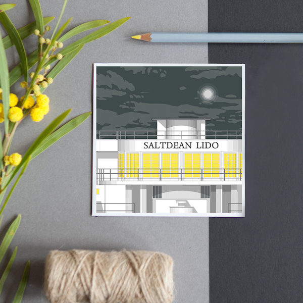 A greeting card featuring a detailed illustration of the iconic Art Deco Saltdean Lido in Saltdean, near Brighton