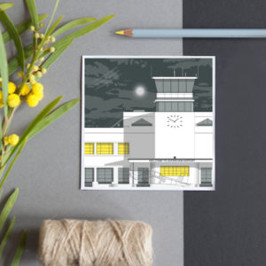 A greeting card featuring a detailed illustration of this airport, an Art Deco landmark featured in many TV programmes.