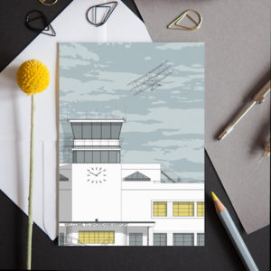 greeting card featuring a detailed illustration of this airport, an Art Deco landmark featured in many TV programmes.