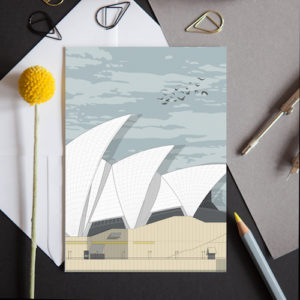 A greeting card featuring a detailed illustration of the iconic Opera House in Sydney, Australia.
