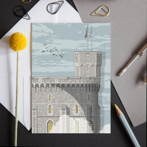 A greeting card featuring a detailed illustration of part of the historic castle in Windsor